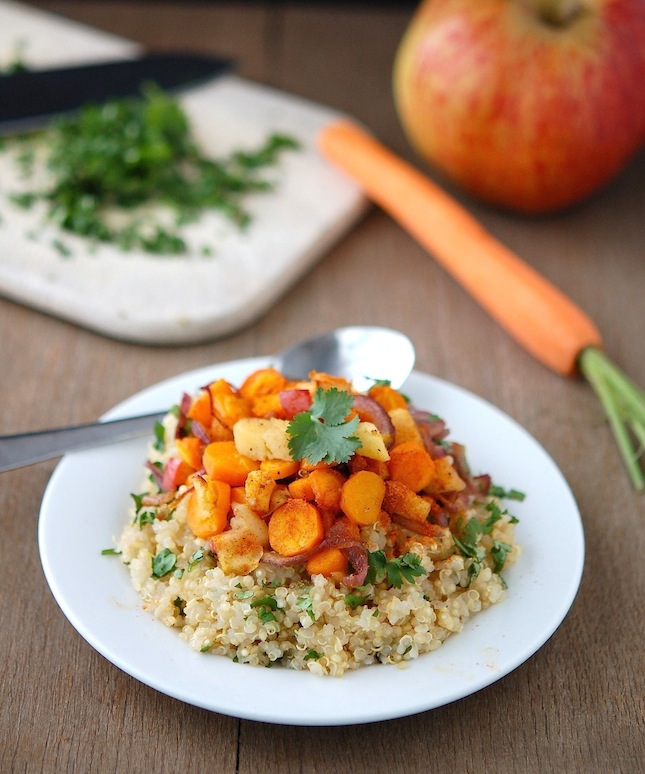 Baked Quinoa with Spiced Apples, Carrots and Red Onions