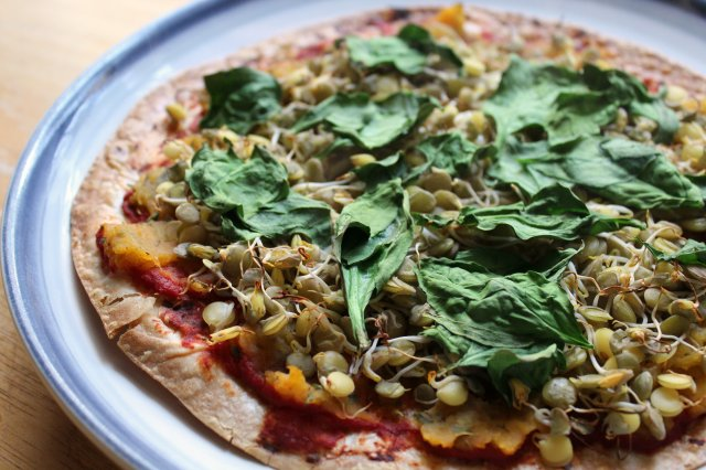 Sprouted Lentil Butternut Squash Pizza