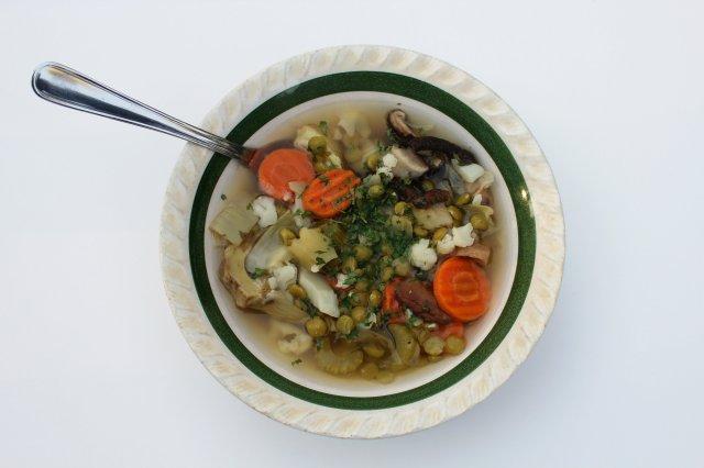 Artichoke and Shiitake Mushroom Split Pea Soup