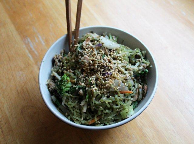 Chinese Salmon, Veggie, Noodle Stir-Fry 4