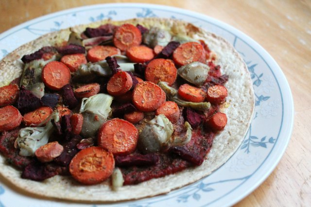 Roasted Winter Veggie Tortilla Pizza 1