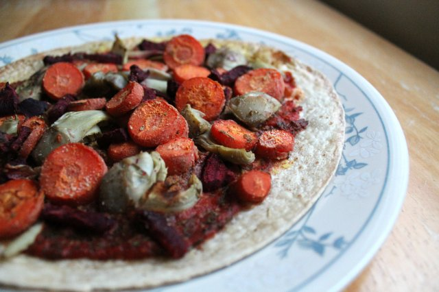 Roasted Winter Veggie Tortilla Pizza 2