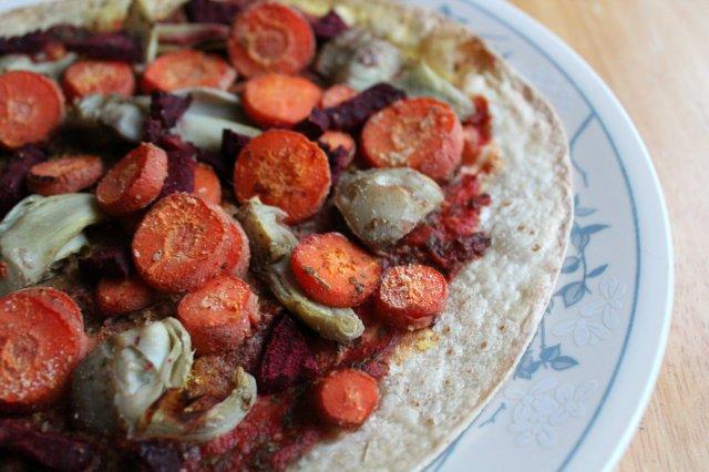 Roasted Winter Veggie Tortilla Pizza 4