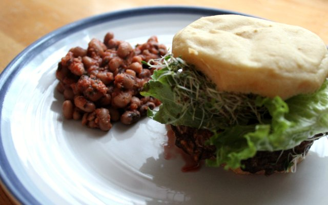 Grilled BBQ Portobello Burger and Baked Beans 1