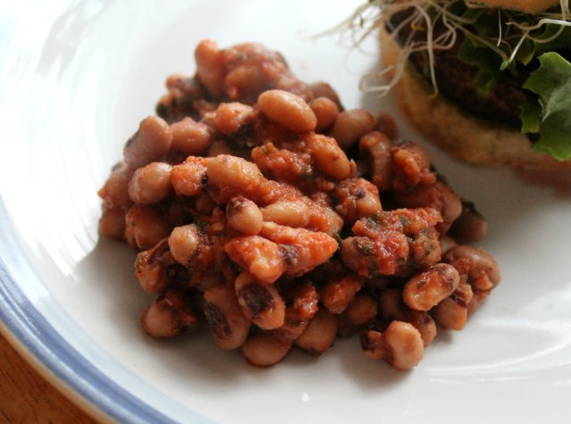 Grilled BBQ Portobello Burger and Baked Beans 2