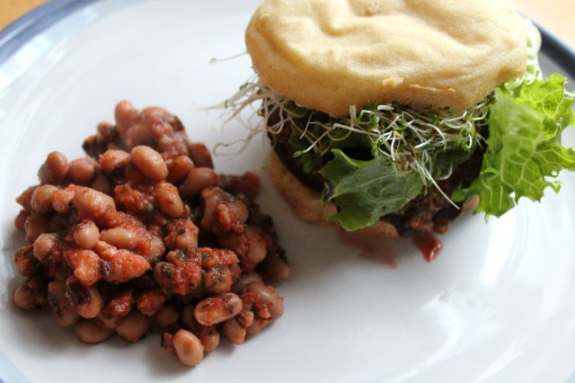 Grilled BBQ Portobello Burger and Baked Beans 3