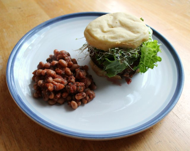 Grilled BBQ Portobello Burger and Baked Beans 4